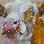 Cow 217 All the worlds a stage small original oil cow animal oil painting by Jean Delaney size 6 x 6inch on 1/8th inch thick gesso board
