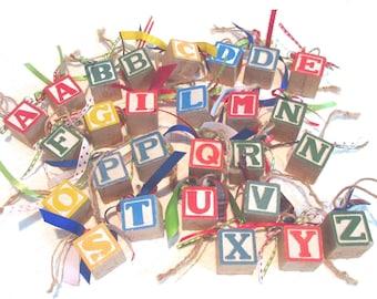 Vintage Wooden Block Letter Ornaments Square Wooden Block Ornaments with Ribbons Word Ornaments