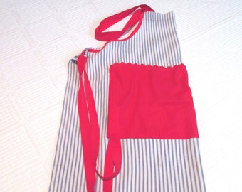 Vintage Ticking Striped Full Apron with Two Large Pockets Red White Blue Apron Pullover Apron