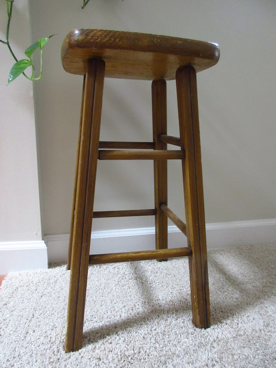 Miraculous Handmade Vintage Tall Stool Rustic Stool Farmhouse Stool Seating Counter Stool Plant Stand Faux Wood Grain Spiritservingveterans Wood Chair Design Ideas Spiritservingveteransorg