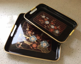 Vintage Set of Two Black Lacquer Asian Inspired Serving Trays with Cherry Blossom Black and Red Trays with Handles