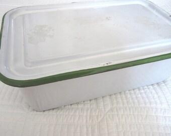 Vintage White Enamel Storage Bin Box Tin with Lid and Green Striped Edge Kitchen Storage Farmhouse Style