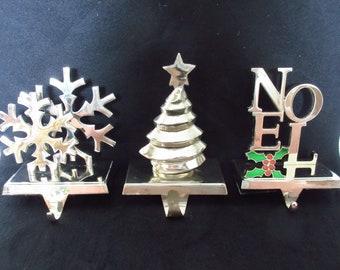 Vintage Christmas Decor Silver Silverplate Stocking Hanger Stocking Holder Snowflakes Christmas Tree Noel