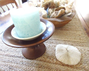 Vintage Black Walnut Pedestal Bowl or Dish Fruit Bowl Wooden Pedestal Display Bowl Jewelry Drop
