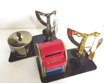 Vintage Stamp Holder and Letter Scale Desk Accessories Brass and Silver Stamp Dispenser Mailbox Cylindrical Stamp Storage