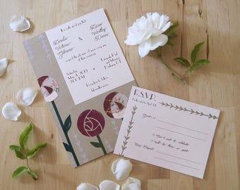 Charming Garden Rose Invitation Set