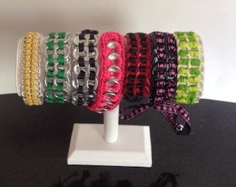 Pop tab chain link bracelet with button buckle. Soda can tabs. 7 bracelets