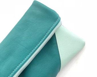 Aqua and Mint Zipper Clutch,  Leather Clutch, nautical Clutch, casual Clutch, Wedding Clutch, Color Block Leather Clutch