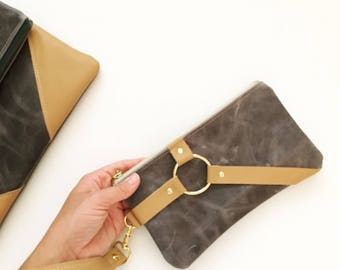 Gray distressed Zipper Clutch, gray Leather Clutch, nautical Clutch, casual Clutch, Wedding Clutch, Color Block Leather Clutch