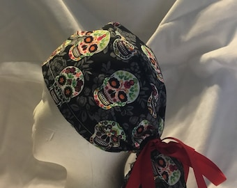 0dcc9009568 Suger skull womans ponytail holder surgical scrub hat