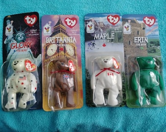 3413a9f0095 1999 McDonald s Beanie Babies full set of 4 Bears never opened