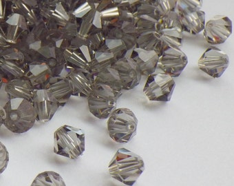 50 Vintage Swarovski Crystal Beads, Black Diamond 5301, 5mm Crystal Beads, 50 Vintage Crystal Beads