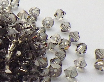 50 Vintage Swarovski Crystal Beads, Black Diamond 5301, 4mm Crystal Beads, 50 Vintage Crystal Beads