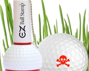 Skull and Crossbones Golf Ball Stamp - Red