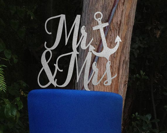 Beach Wedding, Nautical Mr and Mrs, Nautical Mr and Mrs Cake Topper, Nautical Wedding Cake Topper, Mr & Mrs Cake Topper, Beach Cake Topper