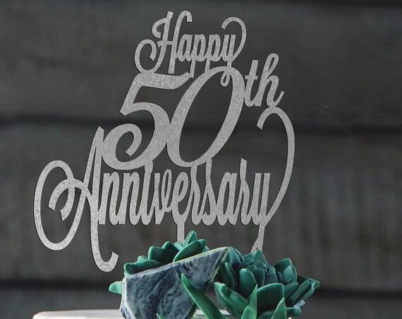Happy 50th Anniversary, Anniversary Cake Topper, Happy Anniversary Cake, Gold Cake Topper, Glitter Cake Topper, DIY Cake Topper, Rustic Cake