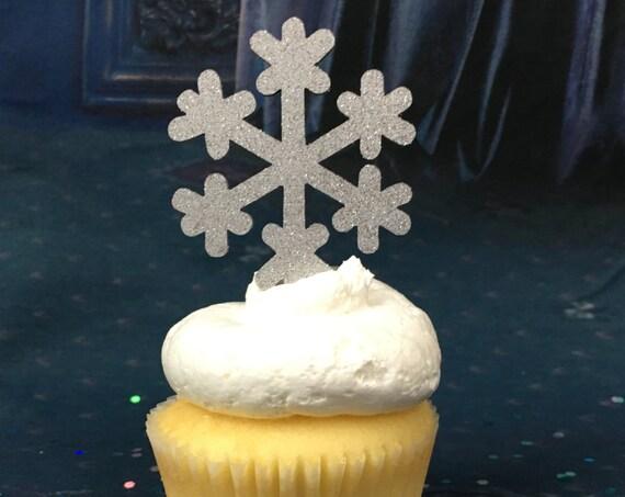 Snowflake Cupcake Toppers, Christmas Cupcake Toppers, Christmas Party,  Frozen Cupcakes, Birthday Cupcake Toppers, Winter Cupcake Toppers