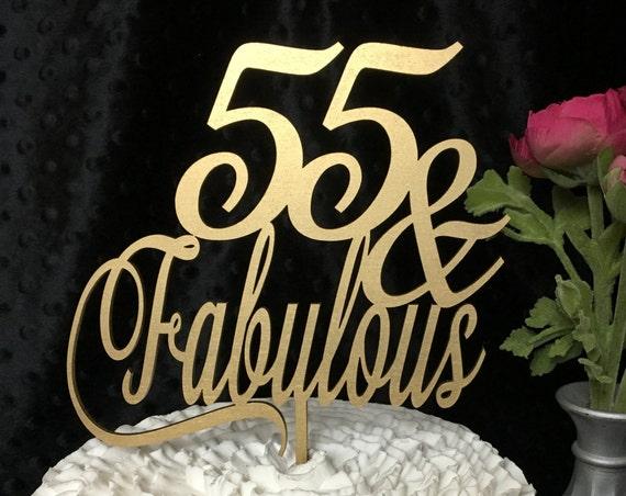 55th Cake Topper, 55 & Fabulous Cake Topper, Gold Cake Topper, Silver Cake Topper, 55th Birthday Cake, Glitter Cake Topper, Wooden Topper