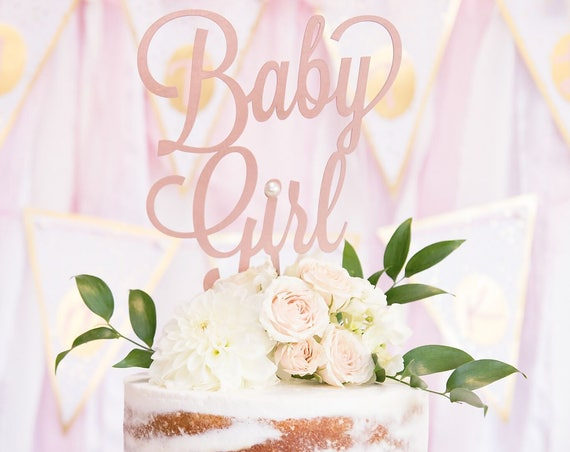 Baby Girl Cake Topper, Baby Shower Cake Topper, Gender Reveal Cake Topper, Rose Gold Baby Shower, Gold Glitter Baby Shower