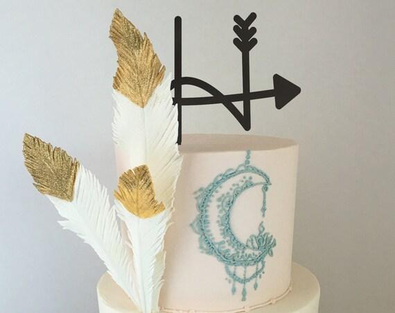 Monogram Cake Topper, Letter Cake Topper,  Boho Cake Topper,  Custom Cake Topper, Arrow Cake Topper, Glitter Cake Topper, Rose Gold Cake