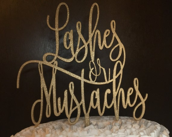 Baby Shower Cake Topper, Lashes or Mustaches Cake Topper, Gender Reveal Cake Topper, Baby Cake Topper, Lashes or Staches Cake Topper