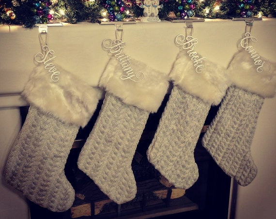 Stocking Name Tag, Custom Name Tag,  Christmas Gift Tag, Rustic Name Tag, Personalized Name Tag, Custom Gift Tag, Gold Gift Tag, Silver Tag