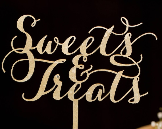 Sweets and Treats Sign, Candy Buffet, Dessert Table, Wedding Sign, Sweets, Table Sign, Wood Table Sign, Glitter Table Sign, Rose Gold Table