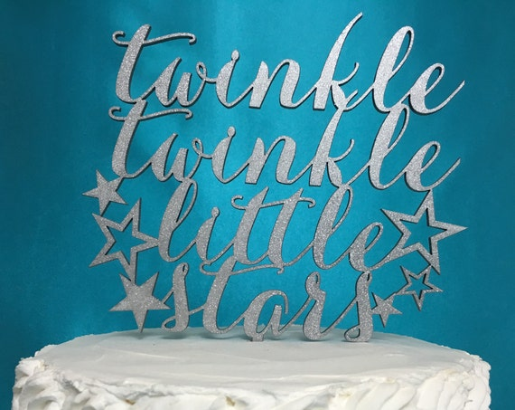 Twins Cake Topper,  Twin Babies Cake Topper, Twins Birthday Cake, Twins Gender Reveal, Glitter Cake Topper, Twinkle Twinkle, Little Stars