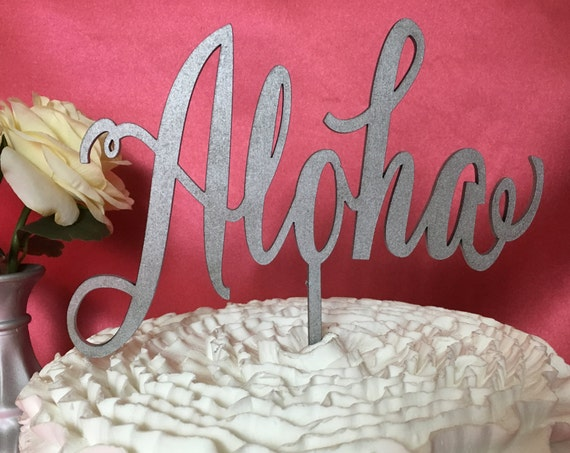 Wedding Cake Topper, Aloha Cake Topper, Hawaii Decor, Hawaii Cake Topper, Cake Topper For Wedding, Cake Topper For Party, Glitter Cake
