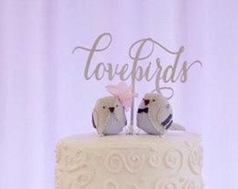 Engagement Cake Topper, Love Birds Cake Topper, Lovebirds Cake Topper, Wedding Cake Topper,  Anniversary Cake Topper, Glitter Cake Topper