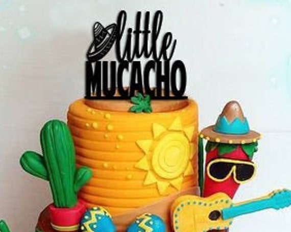 Baby Shower Cake Topper, Little Mucacho Cake Topper, Little Mucach, Shower Cake Topper, Fiesta Baby Shower, Boy Birthday Party, Boy Fiesta