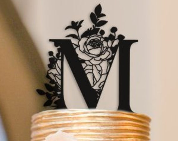 Wedding Cake Topper, Letter Cake Topper, Monogram Cake Topper, Custom Cake Topper, Wedding Monogram, Boho Cake Topper, Floral Cake Topper