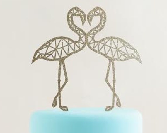 Flamingo Cake Topper, Geometric Flamingo, Tropical Cake Topper, Wedding Cake Topper, Engagement Cake Topper, Gold Cake Topper, Glitter Cake