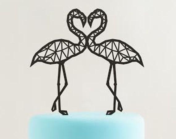 Tropical Cake Topper, Wedding Cake Topper, Flamingo Cake Topper, Geometric Flamingo, Tropical Cake Topper, Rose Gold Cake Topper