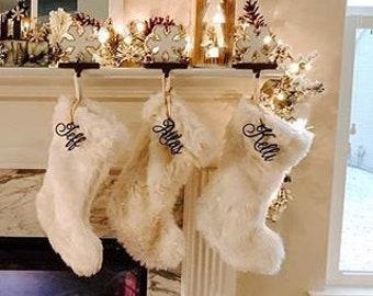 Stocking Name Tag, Custom Name Tag, Present Name Tag, Stocking Decoration, Christmas Decoration, Christmas Stocking Name, Silver Name