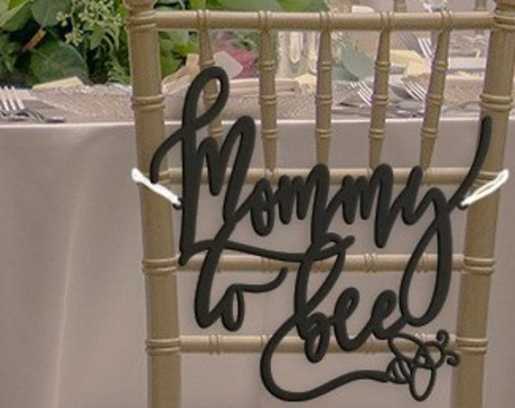 Mommy To Be Chair Sign, Mommy To Bee, Baby Shower Chair Sign, Co-Ed Baby Shower, Gender Reveal Party, Rustic Chair Sign, Custom Chair Sign