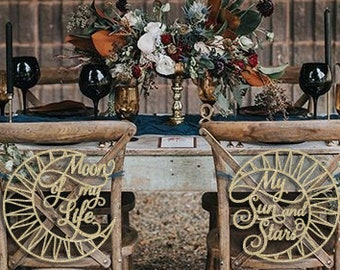 Coed Bridal Shower, Bridal Shower Chair Signs, Jack and Jill Bridal Shower, GOT bridal shower, Moon of my life My Sun and Stars