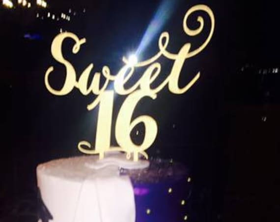 Sweet 16 Cake Topper, Sweet 16 Party, Gold Cake Topper, Silver Cake Topper, Rose Gold Cake Topper, Glitter Cake Topper, 16th Birthday Cake