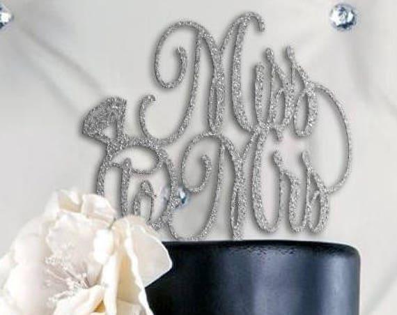 Bridal Shower Cake Topper, Miss to Mrs Cake Topper, Bridal Shower Decor, Bridal Shower Cake, Rose Gold Glitter Cake Topper, Cake Topper
