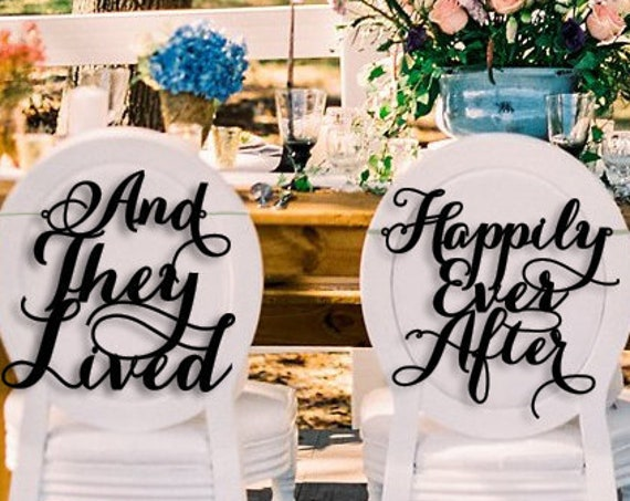 Wedding Chair Signs, And They Lived Happily Ever After, Happily Ever After Chair Sign, Disney Wedding, Disney Wedding Chair Sign