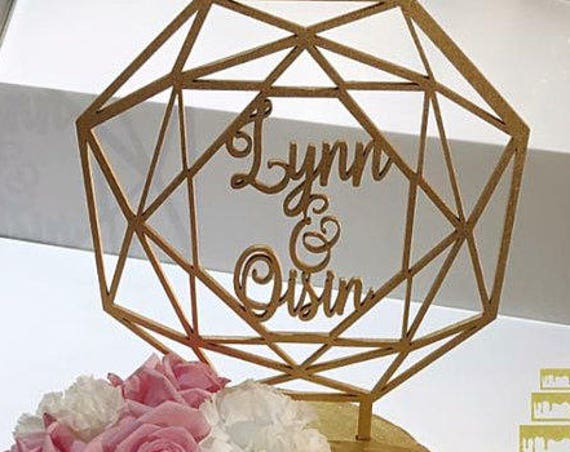 Personalized Name Cake Topper, Wedding Cake Topper, Geometric Cake Topper, Custom Geometric Cake Topper, Glitter Cake Topper, Wooden Cake