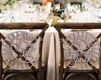 Wedding Chair Signs, Game of Thrones Wedding, GOT Wedding,  Moon of My Life My Sun and Stars Chair Signs, Wedding Chair Decoration