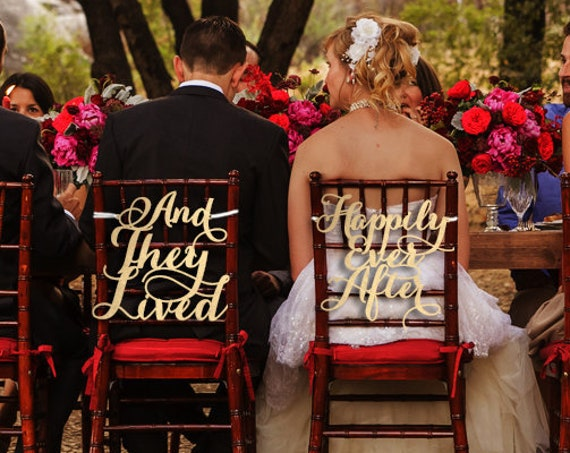 Wedding Chair Signs, Disney Wedding,  And They Lived Happily Ever After, Happily Ever After Chair Sign, Disney Wedding Chair Sign