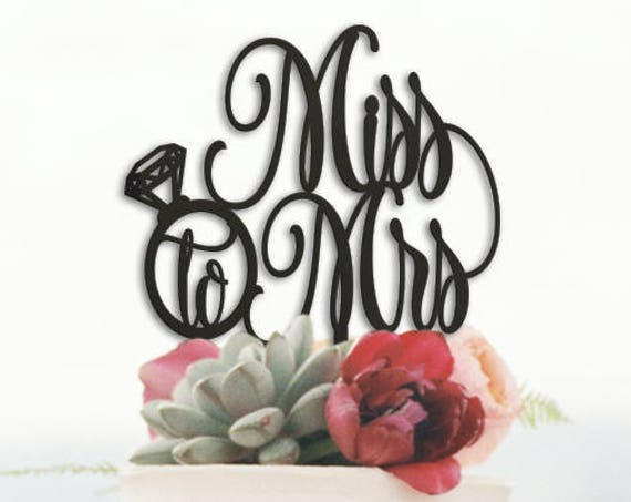 Miss to Mrs, Bridal Shower Cake Topper, Miss to Mrs Cake Topper, Rose Gold Glitter Cake Topper,  Cake Topper,  Gold Cake Topper