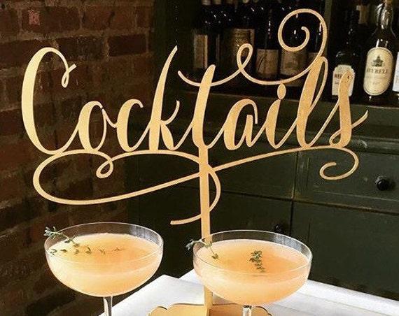Cocktails Sign, Bridal Shower Sign, Engagement Party, Engagement Sign,  Birthday Party Sign, Drinks Sign, Reception Sign, Gold Wedding Sign