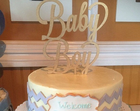 Baby Shower Cake Topper,  Baby Boy Cake Topper, Gender Reveal Cake Topper, It's a Boy Cake Topper, Glitter Cake Topper, Rose Gold Cake