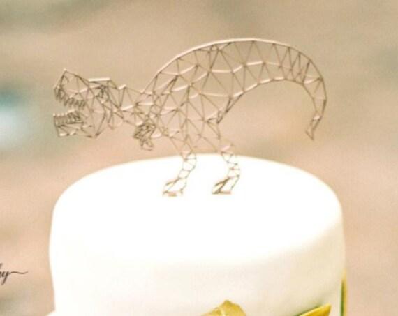 Geometric Dinosaur, Dinosaur Birthday, Dinosaur Cake Topper, Birthday Cake Topper, Dinosaur Birthday Cake Topper, Wooden Cake Topper