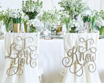 Wedding Chair Signs, I Love You I know Chair Signs, Wedding Reception Chair Signs, Chair Back Signs, Sweet Heart Table Decor, Custom Signs