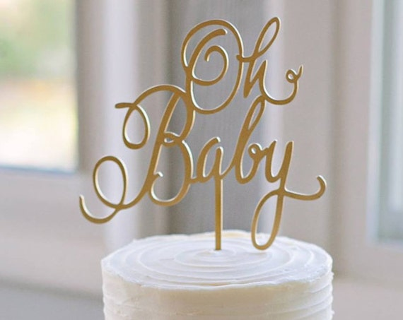 Baby Shower Cake Topper, Oh Baby Cake Topper, Gender Reveal Cake Topper, Baby Girl Cake Topper, Baby Boy Cake Topper, Rustic Cake Topper