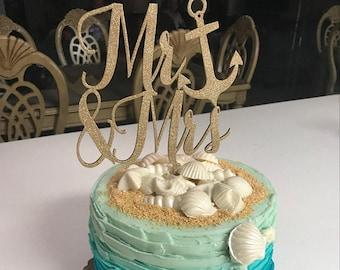 Mr & Mrs Cake Topper, Beach Cake Topper, Beach Wedding, Nautical Mr and Mrs, Nautical Mr and Mrs Cake Topper, Nautical Wedding Cake Topper